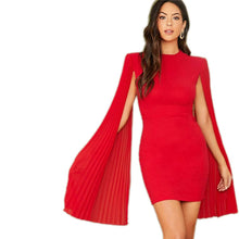Load image into Gallery viewer, Red Solid Pleated Cape Party Bodycon Dress