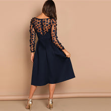 Load image into Gallery viewer, Night Out Contrast Mesh Appliques Pleated Square Neck Knee Length Dress