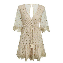 Load image into Gallery viewer, SEQUIN FLARE SLEEVE MINI DRESS