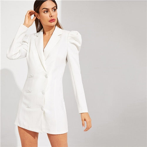 SHEIN White Double Breasted Puff Sleeve V Neck Notched Solid Long Sleeve Short Dress Women Spring Office Lady Slim Fit Dress