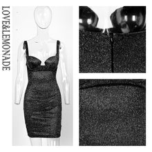 Load image into Gallery viewer, SEXY STRAPLESS  BLACK GLITTER DRESS