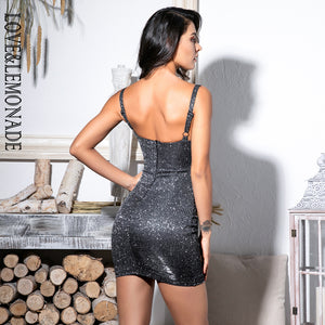 SEXY STRAPLESS  BLACK GLITTER DRESS