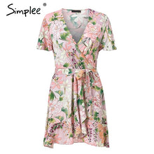 Load image into Gallery viewer, V-NECK SASHES RUFFLES COTTON SHORT BEACH DRESSES