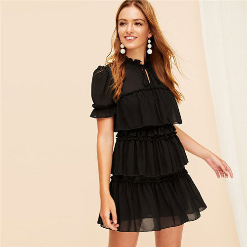 Tie Neck Ruffle Trim Layered Mesh Dress