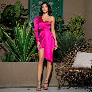 HOT PINK ONE SHOULDER DRESS