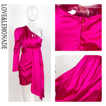 Load image into Gallery viewer, HOT PINK ONE SHOULDER DRESS