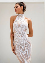 Load image into Gallery viewer, WHITE RETRO SEQUINS DRESS