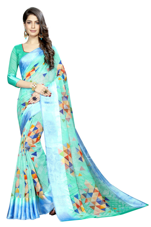Soulful C Green Colored  Festive Wear Pure Linen Printed Saree