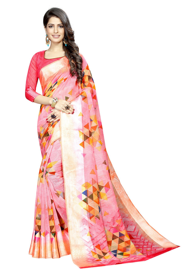 Captivating Light Red  Colored  Festive Wear Pure Linen Printed Saree