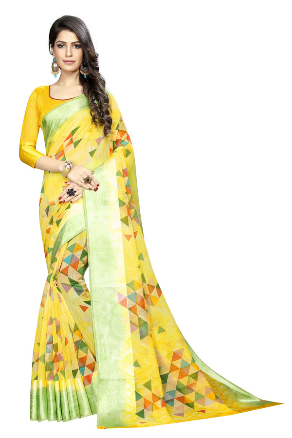 Jazzy Yellow Colored  Festive Wear Pure Linen Printed Saree
