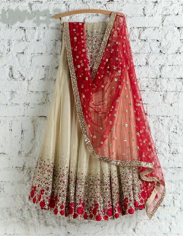 Classic Partywear Off White And Red Designer lehenga Choli