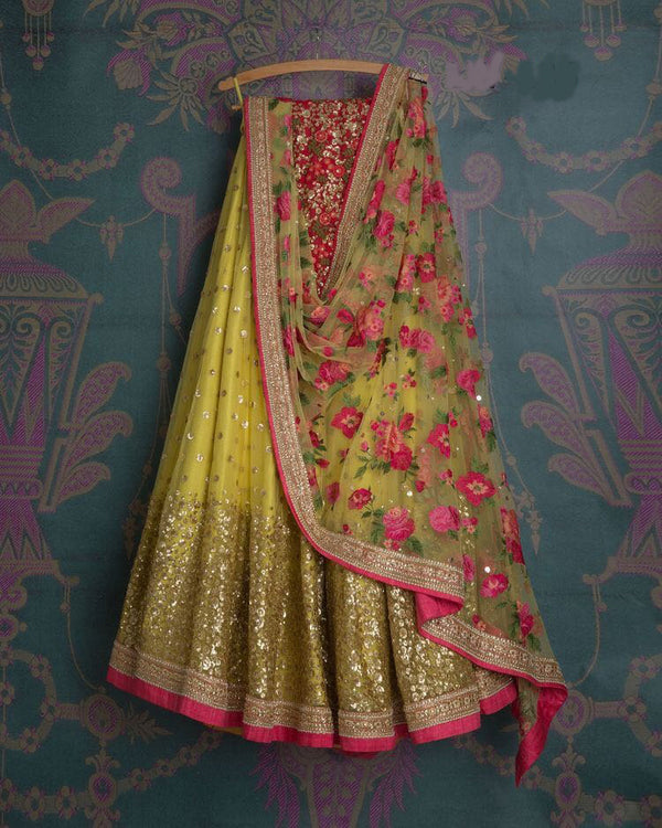 Classic Partywear Yellow And Pink Designer lehenga Choli