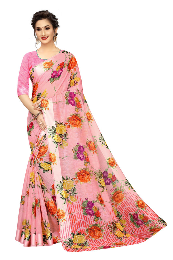 Arresting Pink Festive Wear Pure Linen Printed Saree