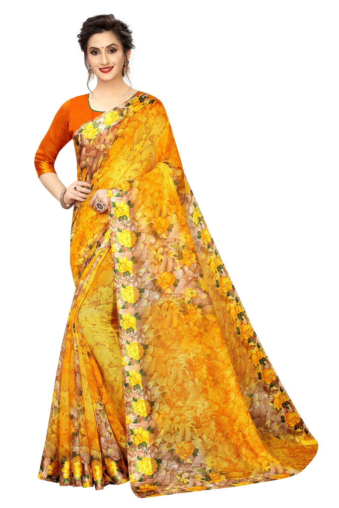 Delightful  Yellow And Orange Colored Casual Printed Pure Linen Saree