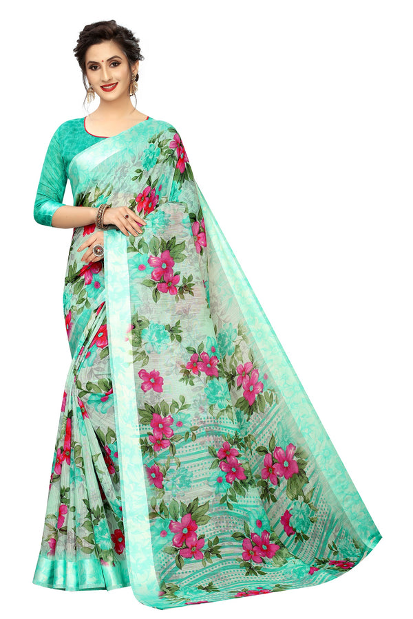 Mesmerising C Green Colored  Festive Wear Pure Linen flower Print Saree