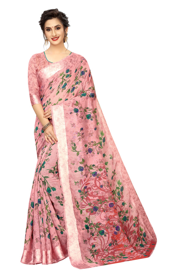 Blooming Light Red Colored Pure Linen Festive Wear Printed  Saree