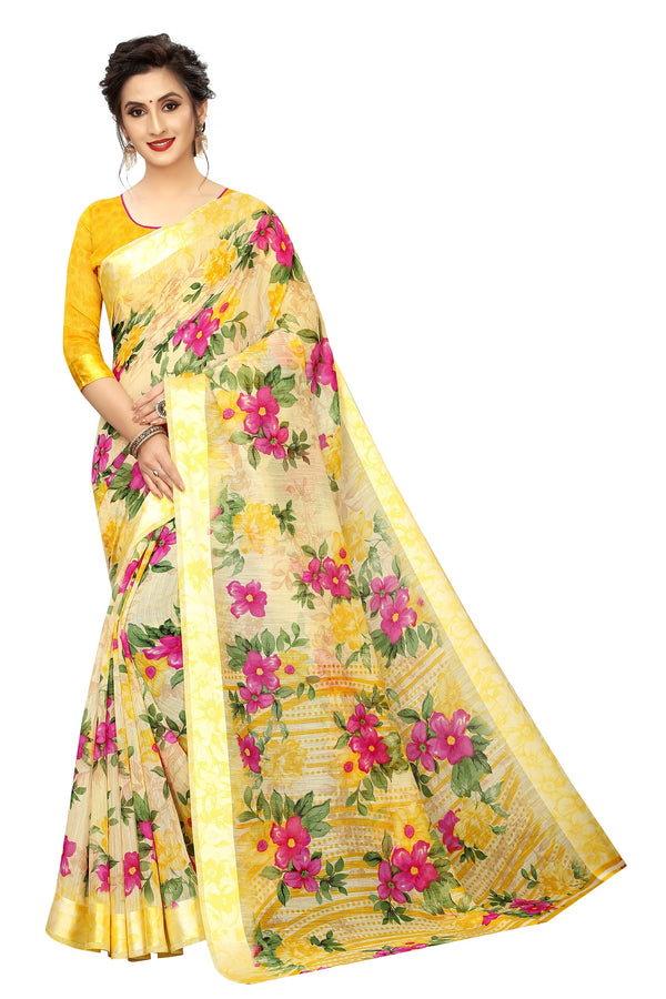 Soulful Yellow Colored  Festive Wear Pure Linen Printed Saree