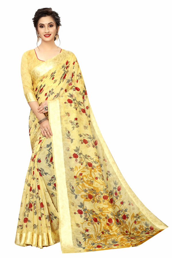 Sophisticated  Yellow Colored Pure Linen Festive Wear Printed  Saree