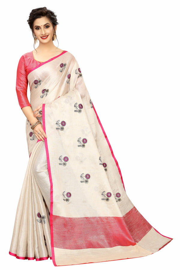 Excellent Cream and Red Colored Festive Wear Tissue Embroidered Saree