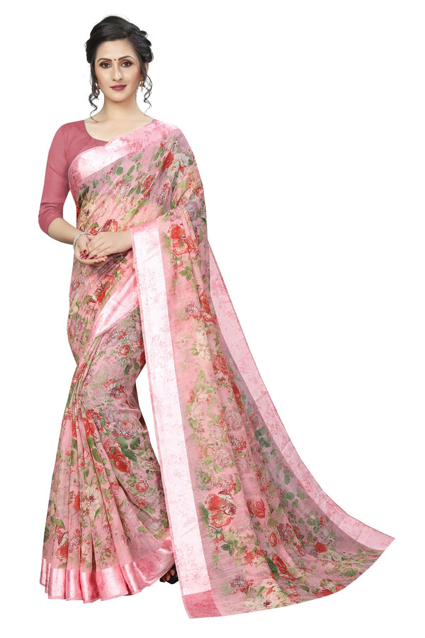 Beautiful Light Rose Pink Colored Festive Wear Designer Pure Linen Saree