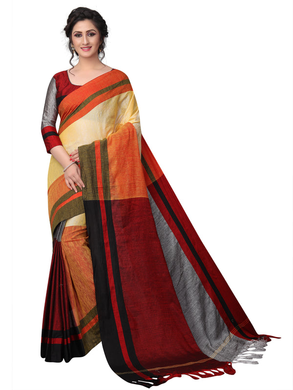 Phenomenal Orange Pure Linen Designer Saree