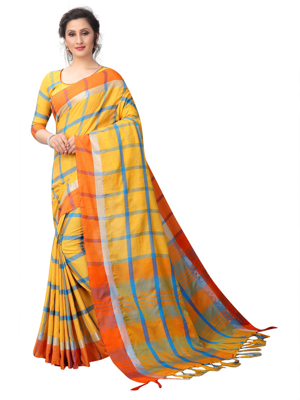 Spectacular Dark Yellow Linen Designer Saree