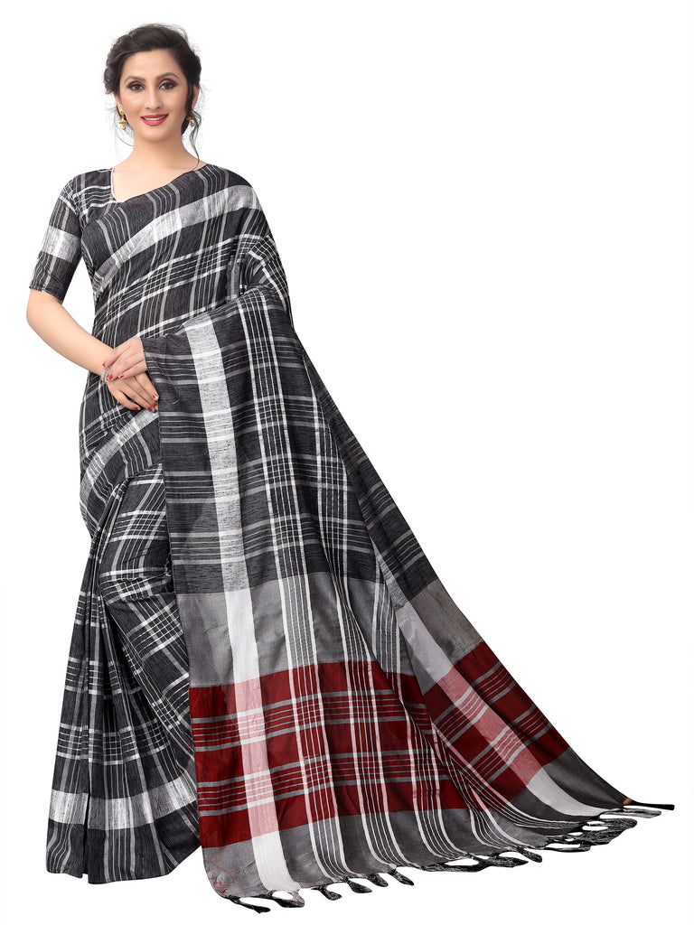 Eye-catching Black Pure Linen Designer Saree
