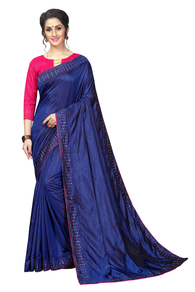 Gorgeous Navy Blue And Pink Colored Partywear  Pure Sanna Silk Dimond Work  Saree