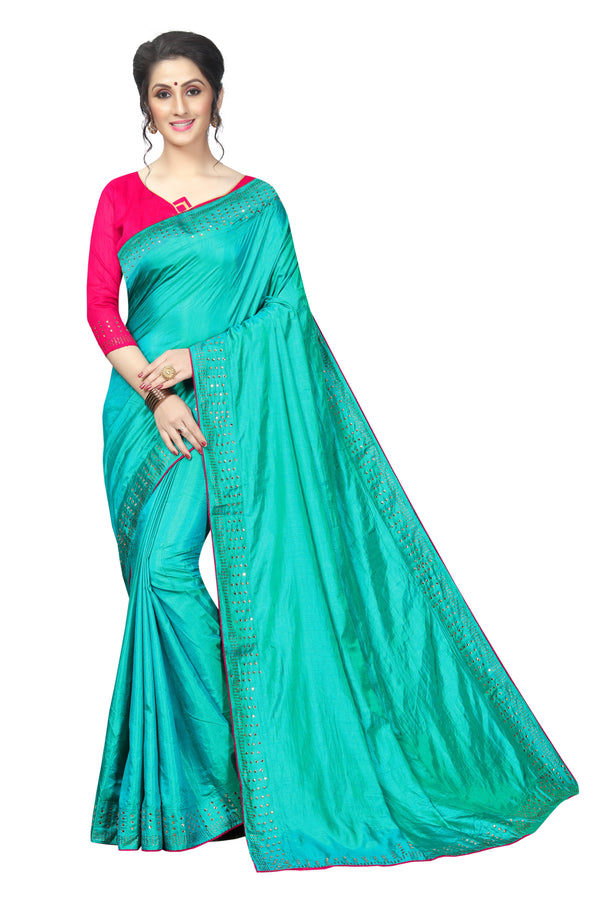 Amazing Rama Colored Partywear  Pure Sanna Silk Dimond Work  Saree