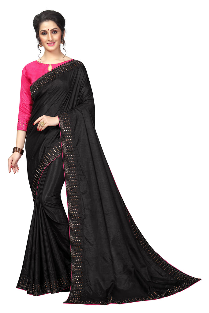Flattering Black And Pink Colored Partywear Pure Sanna Silk Dimond Work  Saree