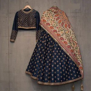 Classic Partywear Navy Blue And Cream Designer lehenga Choli