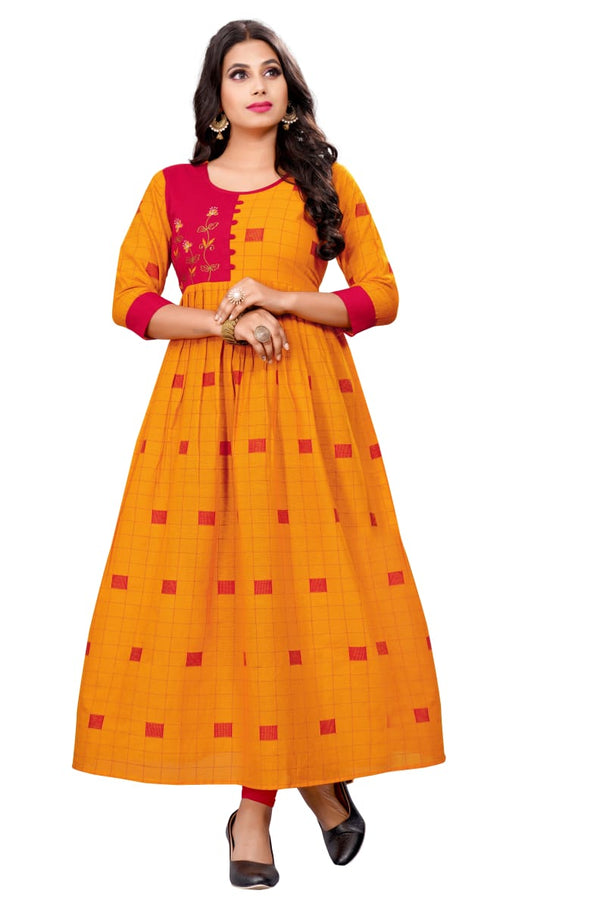 Refreshing Yellow Color South Cotton Designer Kurti