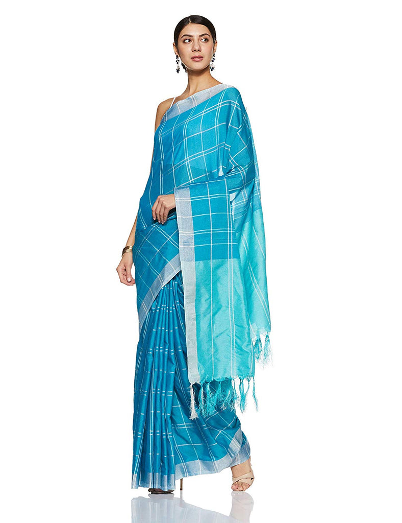 Exclusive Rama Pure Linen Designer Saree