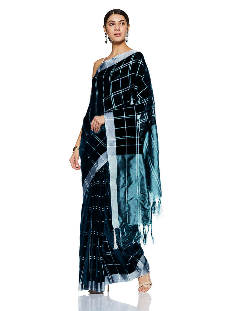 Sophisticated Black Pure Linen Designer Saree