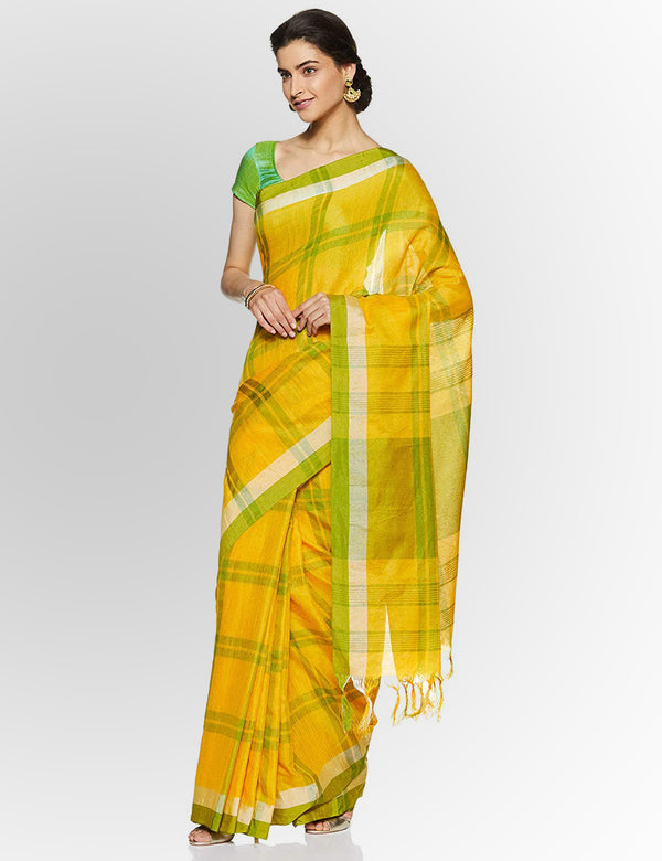 Amazing Yellow Pure Linen Designer Saree