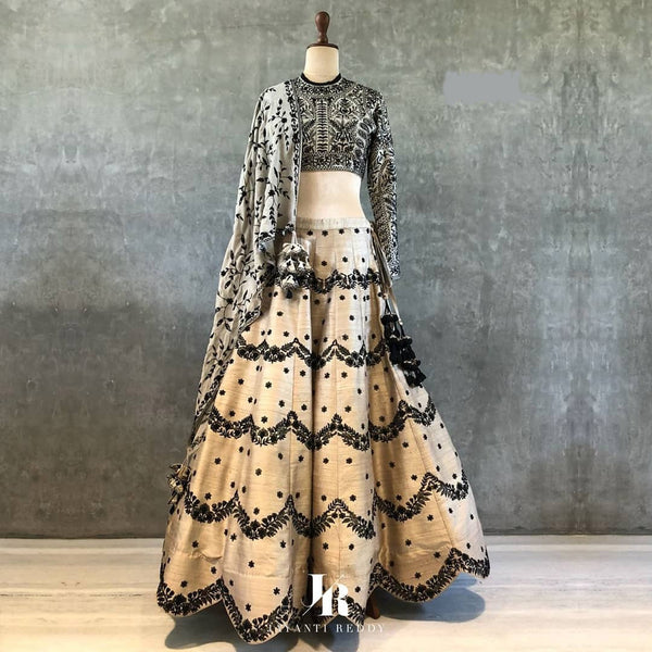 Classic Partywear Black And Cream Designer lehenga Choli