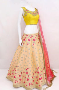 Gleaming  Peach Ruby Silk Designer Bridal Lehenga Wedding Wear