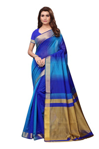 Stylish Blue Cotton Silk Weaved Saree With Blouse Piece
