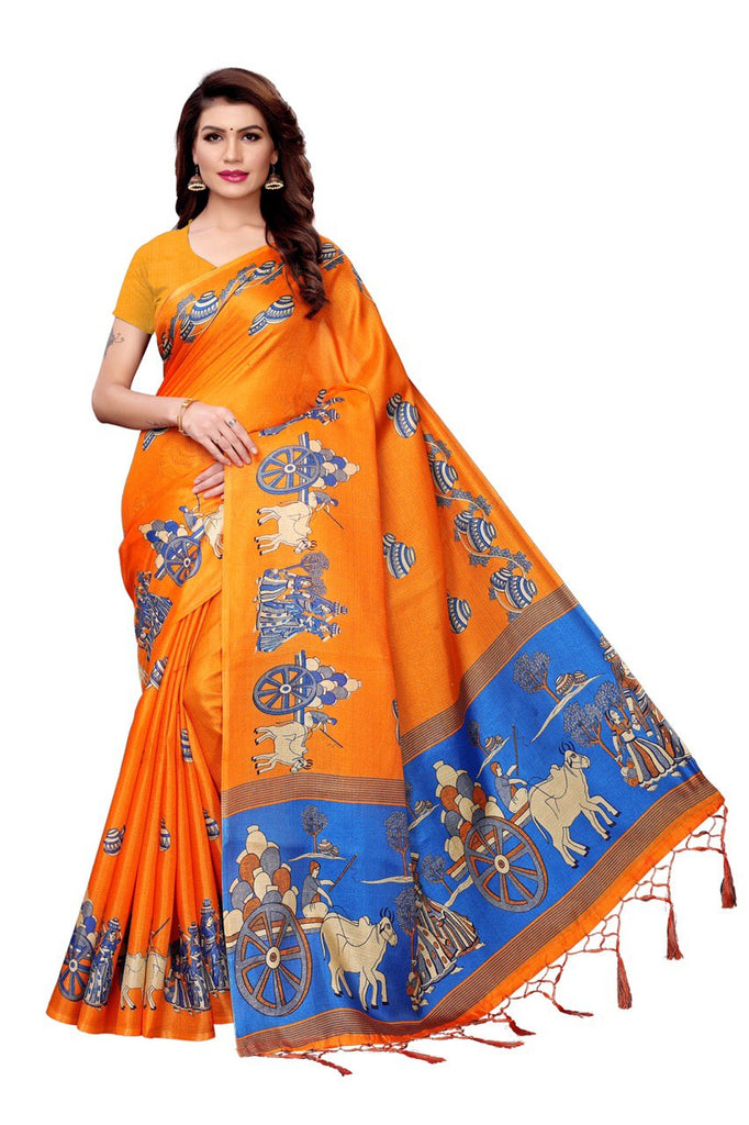 Unbelievable Orange Premium Heavy Khadi Printed Saree