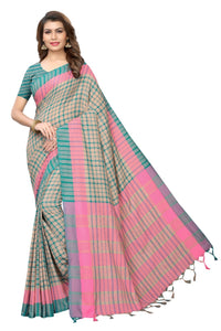Fancy Rama Terra Cotton Printed saree With Blouse Piece