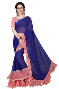 Admirable Blue And Peach Georgette With Diamonds Work Saree