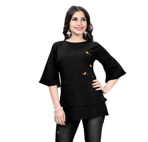 Adorable Ethnic Black Designer Western Rayon Top
