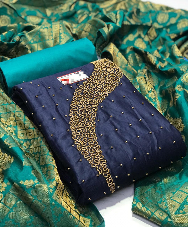 Amazing Navy Blue And Rama Color Designer Salwar Suit