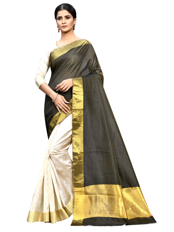 Pleasant  Black & Cream  Colored Festive Wear  Silk Saree