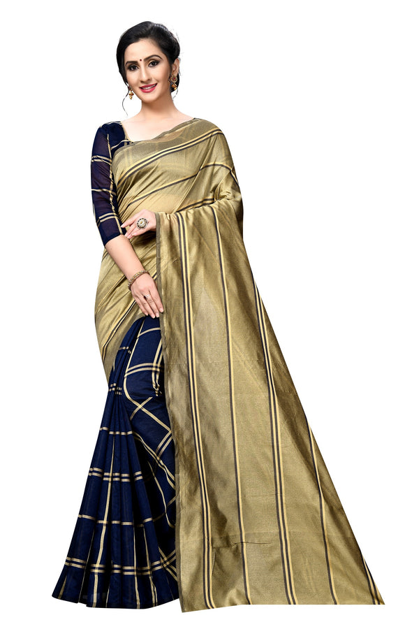 Flattering  Beige And Navy Blue Colored Partywear Printed Cotton silk  Saree