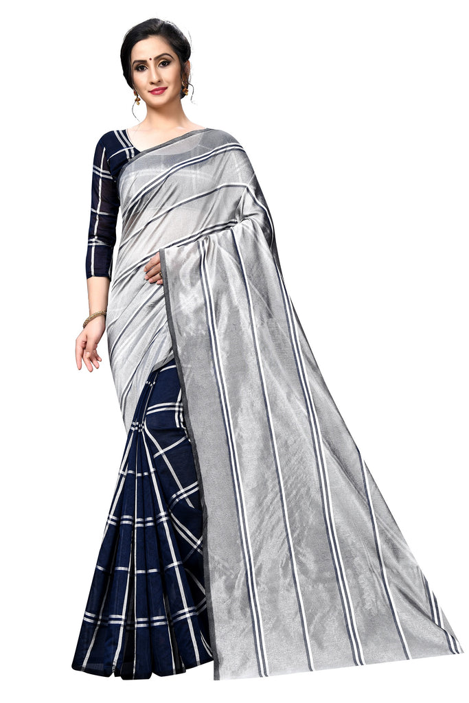 Impressive Grey  And Navy Blue Colored Partywear Printed Cotton silk  Saree