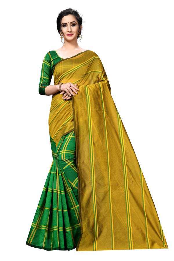 Intricate  Green And Yellow  Colored Partywear Printed Cotton Silk  Saree