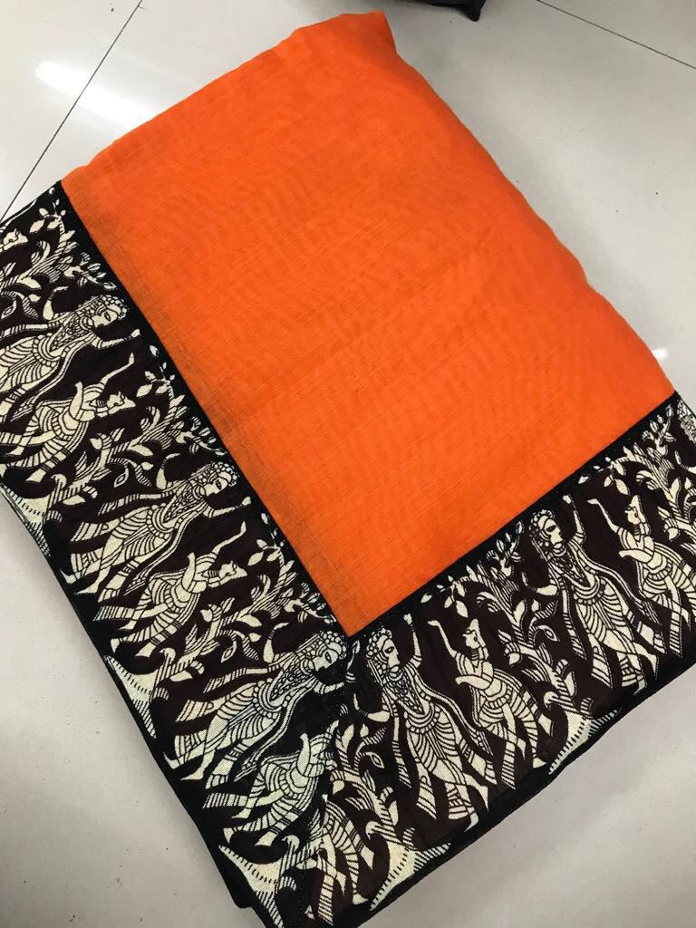 Gorgeous Orange Chanderi Cotton Printed Designer Saree