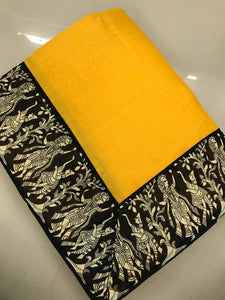 Excellent Yellow Chanderi Cotton Printed Designer Saree