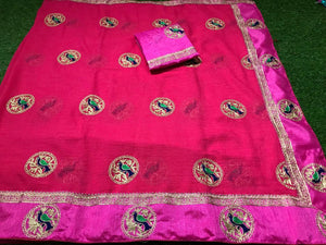 Amazing Pink Bridle Silk Embroidery Designer Saree